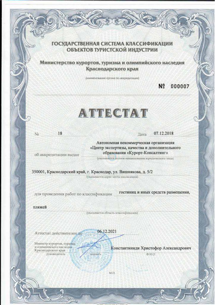 Аттестат АНО ЦЭКДО Курорт-Консалтинг